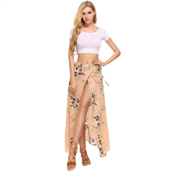 Women Summer Bohemian Style Chiffon Floral Print Side Split Skirt Brown - intl