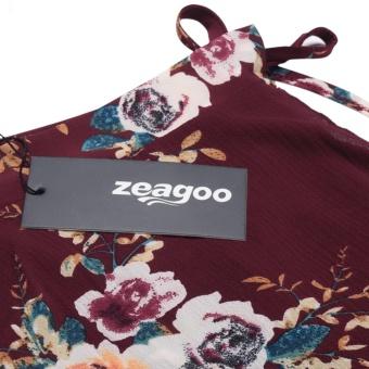 Women Summer Bohemian Style Chiffon Floral Print Side Split Skirt Wine Red - intl - 5