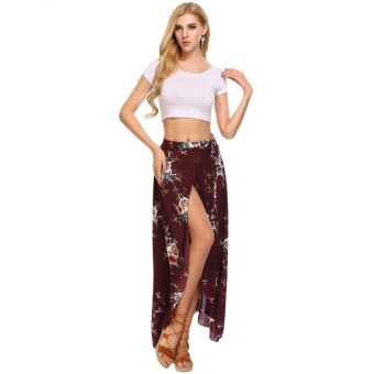 Women Summer Bohemian Style Chiffon Floral Print Side Split Skirt Wine Red - intl - 2
