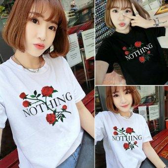Women summer letter and print black tee t-shirt - intl - 2