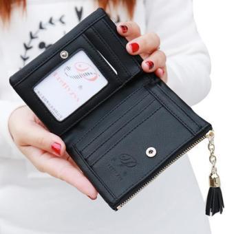Women Tassel Wallet Clutch Leather Short Purse Black - intl - 2