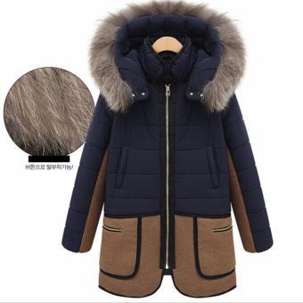 Women warm down parkas winter long coat Overcoat Jacket Fashion Hooded thick Coat Jacket-Dark Blue - intl - 3