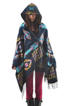 Women Wool Blend Ethnic print Blanket Cloak Poncho Cape (Blue) - picture 2