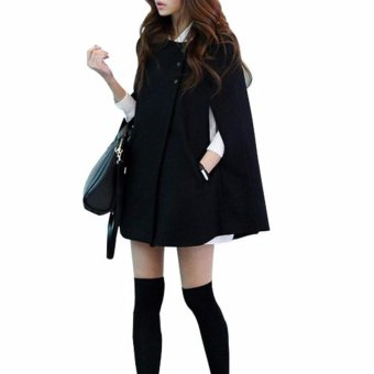 Women's Cape Batwing Wool Poncho Jacket Winter Warm Cloak Coat - intl