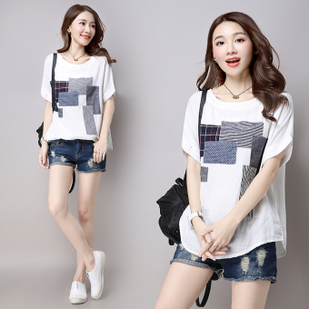 Women's Casual Linen Short Sleeve T-Shirt - White