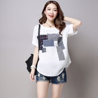 Women's Casual Patched Linen Short Sleeve T-Shirt - White