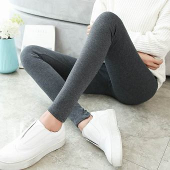 Women's Fleece-lined Cotton High Waist Stretch Skinny Pants Color Varies (Dark gray color)