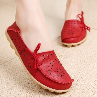 Women's Genuine Leather Loafers Casual Moccasin Driving Shoes Indoor Flat Slip-on Slippers - intl - 3