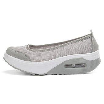 Women's Height Increasing Shoes Slip On Casual Sneaker One Slip Loafers AIWOQI(GREY)(EU:36)(Intl) - intl - 4