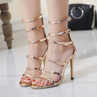 Women's High Heels Fashion Party Sandals with Cut Out Gold - intl - 2