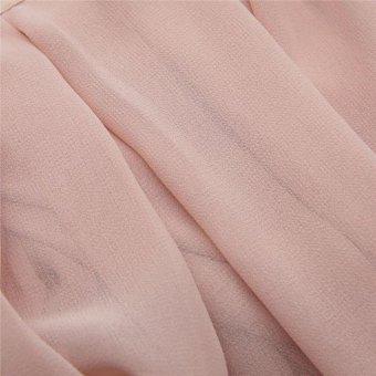 Women's High Waist Skirt Double Layer Chiffon Long Skirt - Pink - intl - 5
