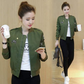 Women's Korean-style Cropped Jacket - Army Green