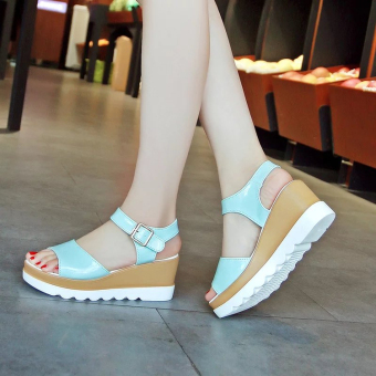 Women's Korean-style Cute Platform Middle Heel Sandal (Sky blue color)