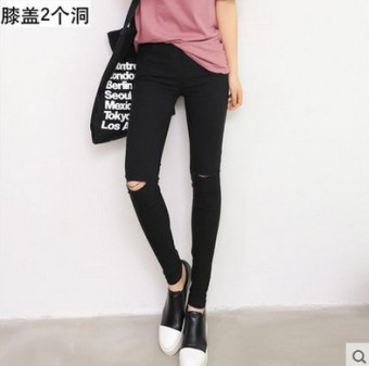Women's Korean-style Fleece-lined Stretch High Waist Cropped Pants Color Varies (Black [knee with holes] After 2 with pockets)