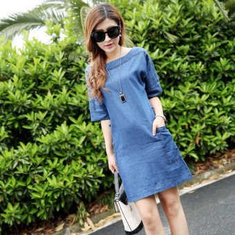 Women's Korean-style Large Size Thin Off Shoulder Denim Mid-length Sleeve Midi Dress