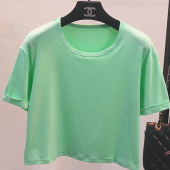Women's Korean-style Round Neck Short Sleeve Cropped Loose T-Shirt - Candy Color (4 No. Light Green)