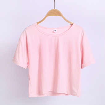 Women's Korean-style Round Neck Short Sleeve Cropped Loose T-Shirt (Pink version2)