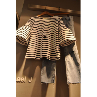 Women's Korean-style Striped Flare Short Sleeve Loose T-Shirt
