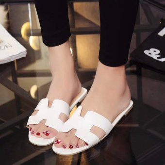Women's Korean-style Stylish Flat Sandal (White)