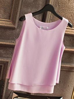 Women's Layered Chiffon Plus Size Sleeveless Tank Top Color Varies (Violet)