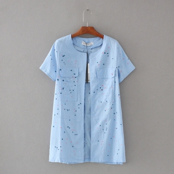 Women's Linen Short Sleeve Cardigan Color Varies (Dark blue color)