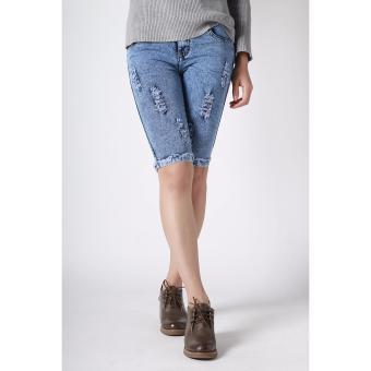Women's New Summer Trend Scratches Fit Capri Pants(Acid Blue) - 4