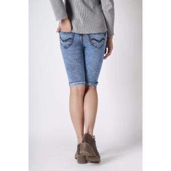Women's New Summer Trend Scratches Fit Capri Pants(Acid Blue) - 3