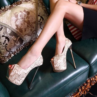 Women's Peep Toe Platform Bridal Pumps Party High Heels with Sequined Gold - 2