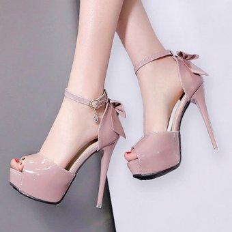 Women's Peep Toe Platform Evening High Heels Korean Sandals with Bow Pink - intl - 2