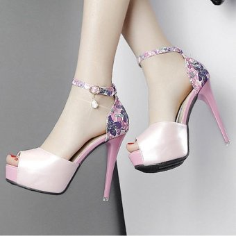 Women's Peep Toe Platform High Heels Elegant Sandals with Flowers Pink - intl - 3