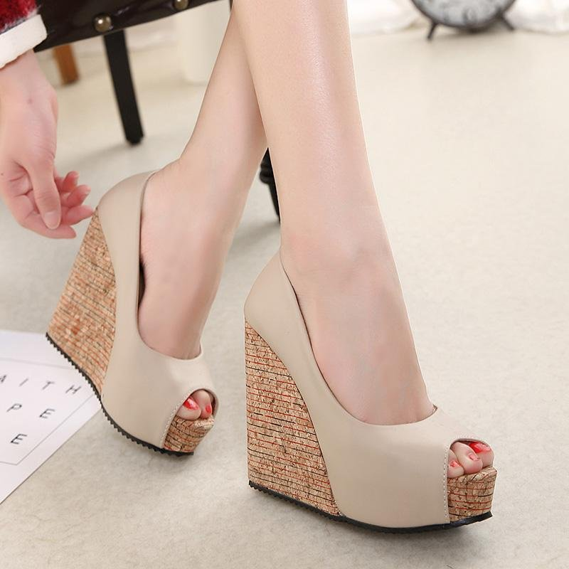 Women's Peep Toe Wedge Shoes Leisure Party High Heels Apricot ...