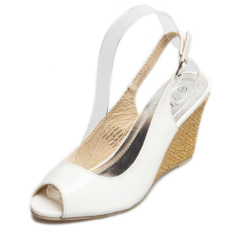 Women's Peep Toe Wedge Sling Back Shoes Japanese Party Sandals White - intl - 2