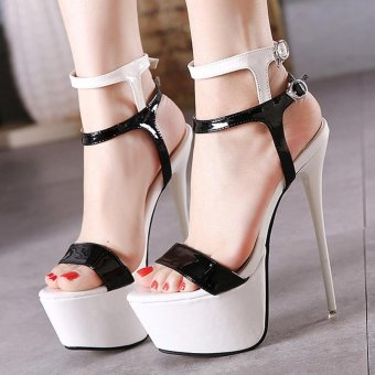 Women's Platform Ankle Strap Heels Japanese Party Sandals White - intl