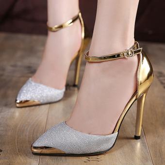 Women's Pointed Toe Stiletto Pumps Korean Shoes Silver - intl - 2
