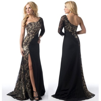 Women's Prom Gown Sexy One Shoulder Lace Long Sleeve Mermaid Slit Maxi Dress (Black) - intl - 4