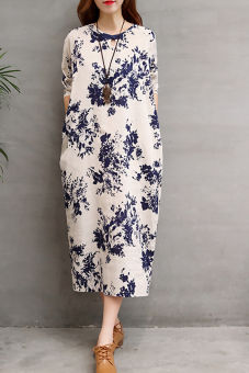 Women's Retro Ink Flower Handmade Button Knot Ramie Cotton Fabric Dress