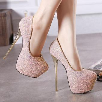 Women's Round Toe Platform High Heels Club Party Shoes with Glitter Pink - intl - 2