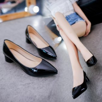 Women'S Shoes With Thick Heel Pu Leather Mid Heel Shoes(Black) - intl - 3