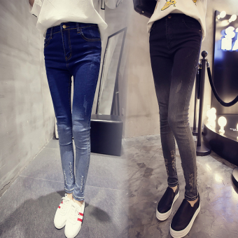 Women's Skinny Gradient Pattern Ripped Jeans (Dark blue color)