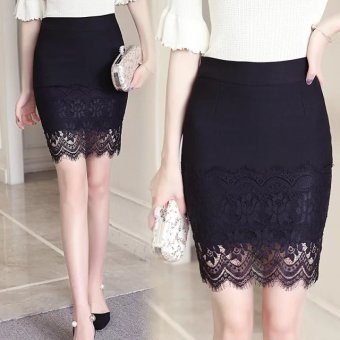 Women's Slimming High Waist Package Hip Lace One-step Skirt - Black