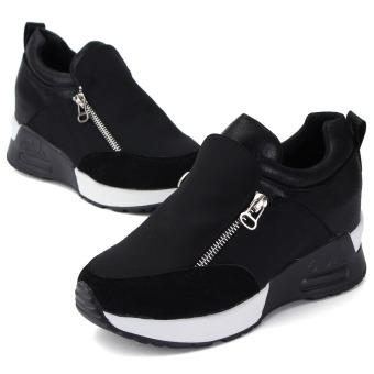 Women's Sneakers Zip Wedge Hidden Heel Sport Shoes - 3