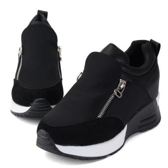 Women's Sneakers Zip Wedge Hidden Heel Sport Shoes - 5