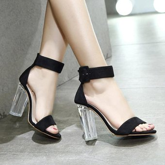 Women's Square Heel Sandals Japanese High Heels Black - intl - 4