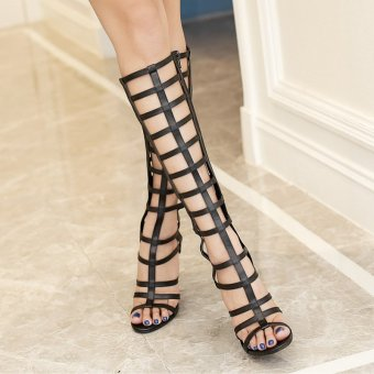 Women's Stiletto Sandals European High Heels with Cut Out Black - 3