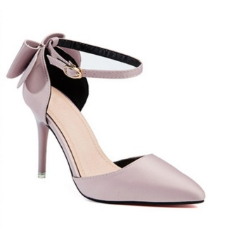 Women's Summer Fashion Pointed High-heeled Shoes Block Heels Pointed Toe Suede A-Line Straps Formal Leather Lady Shallow Mouth Heel Sandals(pink) - intl
