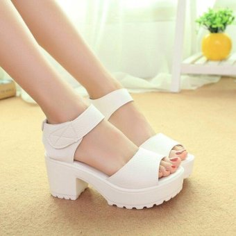 Women's Summer Solid Casual Peep Toe Middle Block Heels Sandals Leather Shoes D161 White(EU:41)(OVERSEAS) - intl