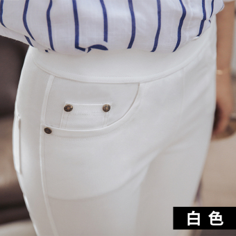 Women's Thin Stretch High Waist Skinny Full Length Pants Color Varies (White)