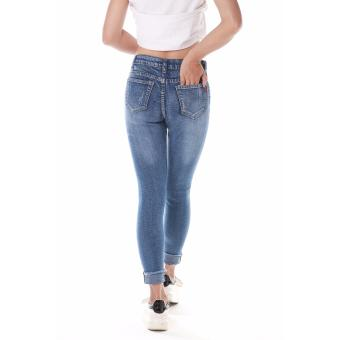 Women's Blue Skinny Jeans with Yellow Line Folded . - 5