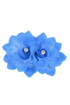 Women's Crystal Rhinestone Flower Bridal Petal Hair Pin Blue