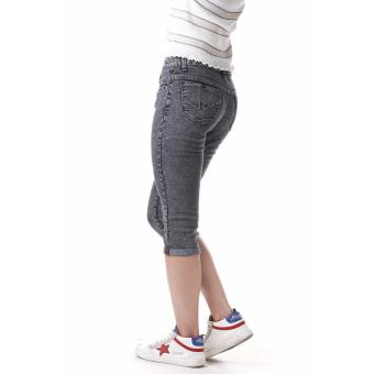 Women's Curvy Grey Capri Short - 2